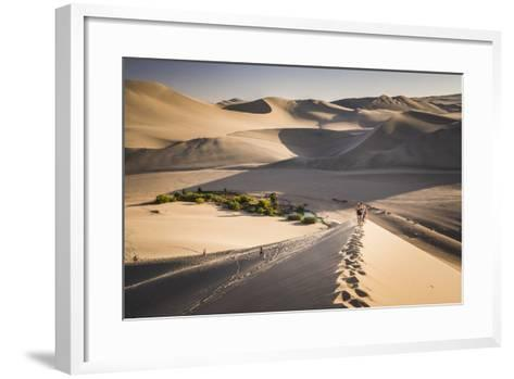 Tourists Climbing Sand Dunes at Sunset at Huacachina, a Village in the Desert, Ica Region, Peru-Matthew Williams-Ellis-Framed Art Print