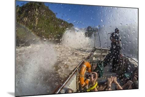 Tourists Take a River Boat to the Base of the Falls, Misiones, Argentina-Michael Nolan-Mounted Photographic Print