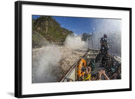 Tourists Take a River Boat to the Base of the Falls, Misiones, Argentina-Michael Nolan-Framed Art Print