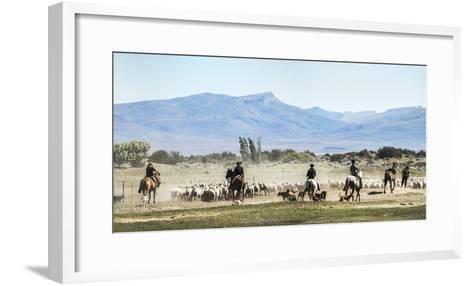 Gauchos Riding Horses to Round Up Sheep, El Chalten, Patagonia, Argentina, South America-Matthew Williams-Ellis-Framed Art Print