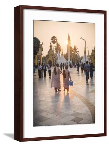 Buddhist Nuns in Pink Robes at Sunrise at Shwedagon Pagoda (Golden Pagoda), Myanmar (Burma)-Matthew Williams-Ellis-Framed Art Print