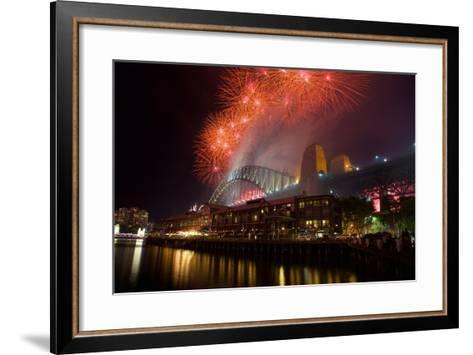 Sydney Harbour Bridge and New Years Eve Fireworks, Sydney, New South Wales, Australia, Oceania-Frank Fell-Framed Art Print