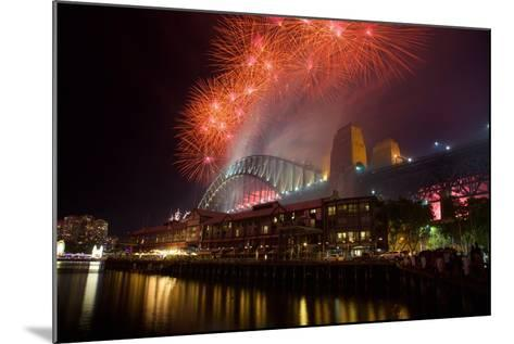 Sydney Harbour Bridge and New Years Eve Fireworks, Sydney, New South Wales, Australia, Oceania-Frank Fell-Mounted Photographic Print