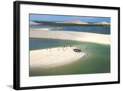 Aerial of Dunes Near Jericoacoara, Ceara, Brazil, South America-Alex Robinson-Framed Art Print