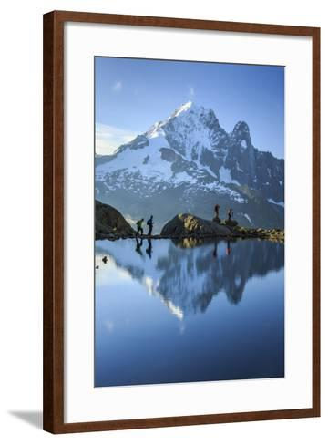 Hikers on the Shores of Lac De Cheserys, French Alps-Roberto Moiola-Framed Art Print