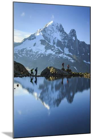 Hikers on the Shores of Lac De Cheserys, French Alps-Roberto Moiola-Mounted Photographic Print