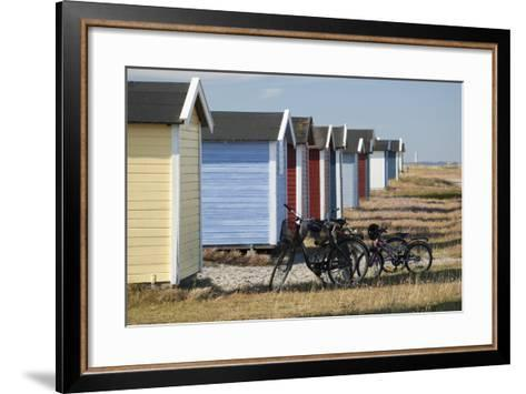 Colourful Beach Huts and Bicycles, South Sweden-Stuart Black-Framed Art Print