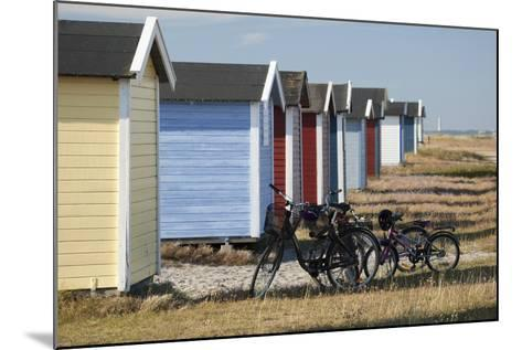 Colourful Beach Huts and Bicycles, South Sweden-Stuart Black-Mounted Photographic Print