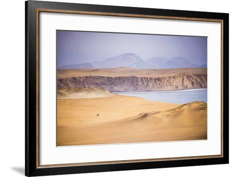 Hikers Hiking in Desert and Sand Dunes, Ica, Peru-Matthew Williams-Ellis-Framed Art Print