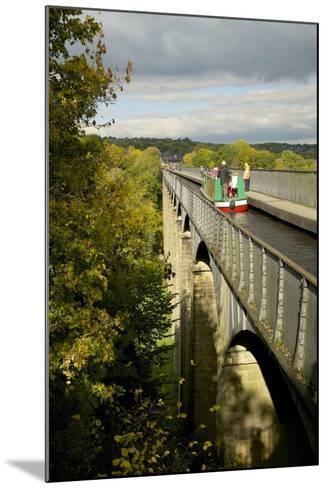 Narrowboat Crossing the River Dee in Autumn on the Pontcysyllte Aqueduct, Denbighshire-Peter Barritt-Mounted Photographic Print
