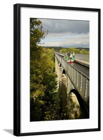 Narrowboat Crossing the River Dee in Autumn on the Pontcysyllte Aqueduct, Denbighshire-Peter Barritt-Framed Art Print