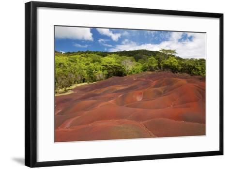 Chamarel Coloured Earth, Chamarel, Savanne, Mauritius, Indian Ocean, Africa-Jordan Banks-Framed Art Print