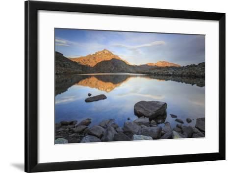 Peak Tambo Reflected in Lake Bergsee at Dawn, Chiavenna Valley, Spluga Valley, Switzerland, Europe-Roberto Moiola-Framed Art Print