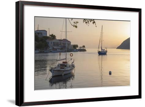 View across the Tranquil Harbour, Dodecanese Islands-Ruth Tomlinson-Framed Art Print