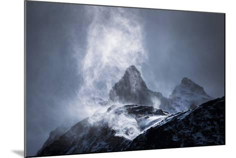 Wind Sweeping Snow Off Mountains, Torres Del Paine National Park, Patagonia, Chile, South America-Matthew Williams-Ellis-Mounted Photographic Print
