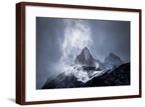 Wind Sweeping Snow Off Mountains, Torres Del Paine National Park, Patagonia, Chile, South America-Matthew Williams-Ellis-Framed Art Print