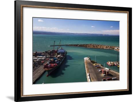 Cargo Ship in Napier Port, Hawkes Bay Region, North Island, New Zealand, Pacific-Matthew Williams-Ellis-Framed Art Print
