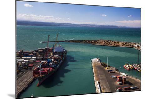 Cargo Ship in Napier Port, Hawkes Bay Region, North Island, New Zealand, Pacific-Matthew Williams-Ellis-Mounted Photographic Print