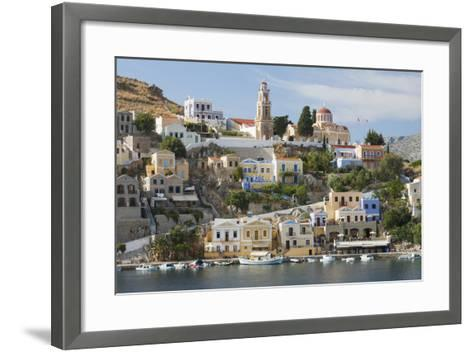 View over Harbour to Colourful Houses and Church, Dodecanese Islands-Ruth Tomlinson-Framed Art Print