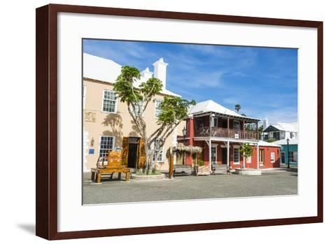 Colonial Houses in the UNESCO World Heritage Site, the Historic Town of St George, Bermuda-Michael Runkel-Framed Art Print