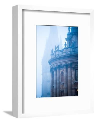Radcliffe Camera and St. Mary's Church in the Mist, Oxford, Oxfordshire, England, United Kingdom-John Alexander-Framed Art Print