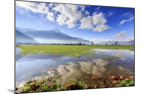 The Natural Reserve of Pian Di Spagna Flooded with Mount Legnone Reflected in the Water, Italy-Roberto Moiola-Mounted Photographic Print