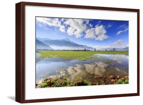 The Natural Reserve of Pian Di Spagna Flooded with Mount Legnone Reflected in the Water, Italy-Roberto Moiola-Framed Art Print