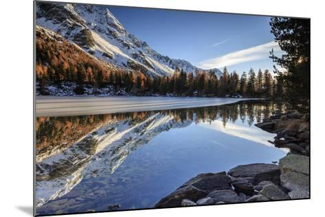 Colourful Woods are Reflected in Saoseo Lake Still Partially Frozen, Switzerland-Roberto Moiola-Mounted Photographic Print