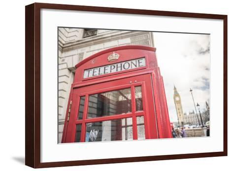 Red Telephone Box and Big Ben (Elizabeth Tower), Houses of Parliament, Westminster, London, England-Matthew Williams-Ellis-Framed Art Print