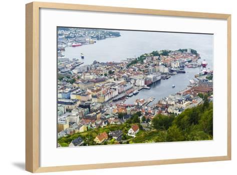 View over the City from Mount Floyen, Bergen, Norway, Scandinavia, Europe-Amanda Hall-Framed Art Print