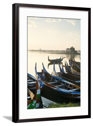 Boats on the Taungthaman Lake Near Amarapura with the U Bein Teak Bridge Behind, Myanmar (Burma)-Alex Robinson-Framed Art Print