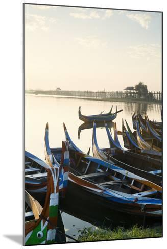 Boats on the Taungthaman Lake Near Amarapura with the U Bein Teak Bridge Behind, Myanmar (Burma)-Alex Robinson-Mounted Photographic Print
