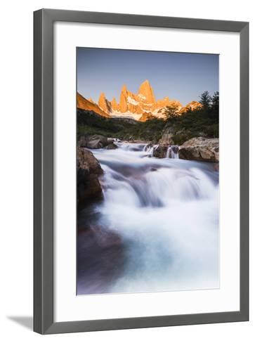 Sunrise Mount Fitz Roy (Cerro Chalten) and Waterfall on Lago De Los Tres Hike, Patagonia, Argentina-Matthew Williams-Ellis-Framed Art Print