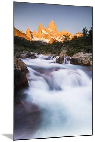Sunrise Mount Fitz Roy (Cerro Chalten) and Waterfall on Lago De Los Tres Hike, Patagonia, Argentina-Matthew Williams-Ellis-Mounted Photographic Print