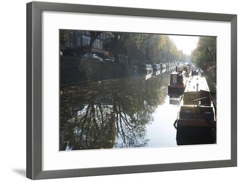 Canal Boats on the Regent's Canal, Little Venice, London, England, United Kingdom, Europe-Ethel Davies-Framed Art Print