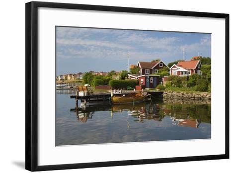 Swedish Red Summer Houses in Brandaholm, Dragso Island, Karlskrona, Blekinge, South Sweden, Sweden-Stuart Black-Framed Art Print