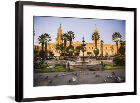 Night at Basilica Cathedral of Arequipa (Basilica Catedral), Plaza De Armas, Arequipa, Peru-Matthew Williams-Ellis-Framed Art Print
