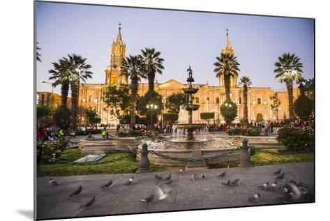 Night at Basilica Cathedral of Arequipa (Basilica Catedral), Plaza De Armas, Arequipa, Peru-Matthew Williams-Ellis-Mounted Photographic Print
