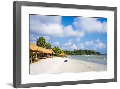 Thatched Huts with Hammocks Along Ochheuteal Beach, Preah Sihanouk Province, Cambodia-Jason Langley-Framed Art Print