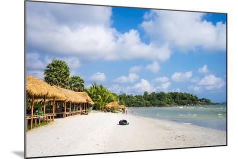 Thatched Huts with Hammocks Along Ochheuteal Beach, Preah Sihanouk Province, Cambodia-Jason Langley-Mounted Photographic Print
