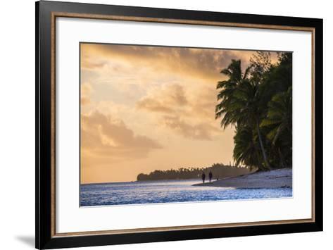 Walking Along a Tropical Beach at Sunset, Rarotonga, Cook Islands, South Pacific, Pacific-Matthew Williams-Ellis-Framed Art Print