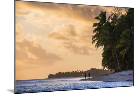 Walking Along a Tropical Beach at Sunset, Rarotonga, Cook Islands, South Pacific, Pacific-Matthew Williams-Ellis-Mounted Photographic Print