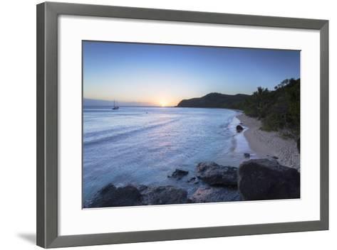 Waya Island at Sunset, Yasawa Islands, Fiji, South Pacific, Pacific-Ian Trower-Framed Art Print