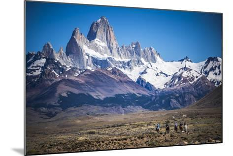 Gauchos Riding Horses and Herding Sheep with Mount Fitz Roy Behind, Patagonia, Argentina-Matthew Williams-Ellis-Mounted Photographic Print