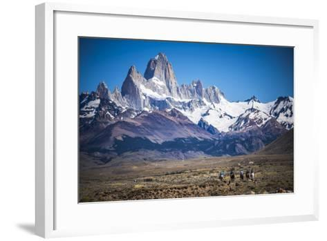 Gauchos Riding Horses and Herding Sheep with Mount Fitz Roy Behind, Patagonia, Argentina-Matthew Williams-Ellis-Framed Art Print