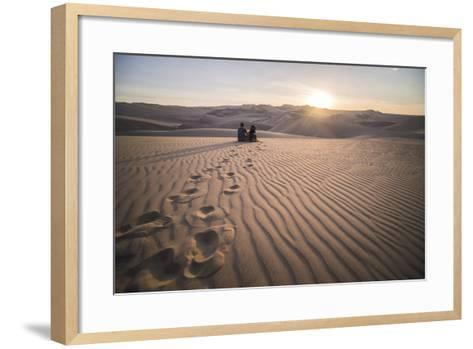 Couple Watching the Sunset over Sand Dunes in the Desert at Huacachina, Ica Region, Peru-Matthew Williams-Ellis-Framed Art Print