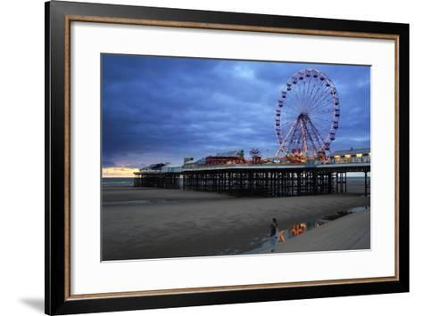 Big Wheel and Amusements on Central Pier at Sunset with Young Women Looking On, Lancashire, England-Rosemary Calvert-Framed Art Print