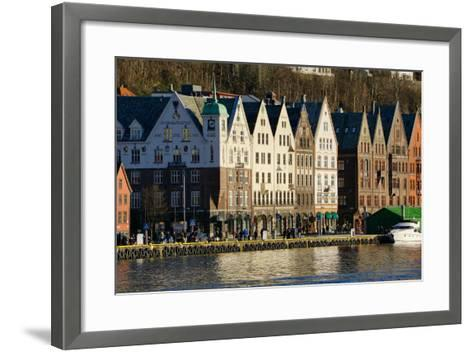View on the Harbour in Bryygen Area, Bergen, Hordaland, Norway, Scandinavia, Europe-Robert Harding-Framed Art Print