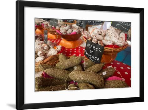 Traditional Sausages for Sale in an Open Air Market in the Historic Town of Cassis, France-Martin Child-Framed Art Print