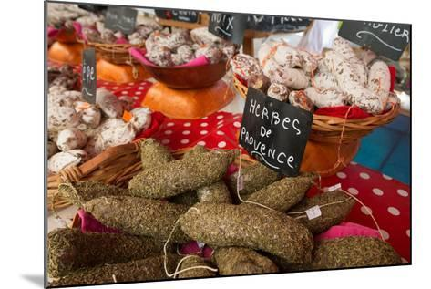 Traditional Sausages for Sale in an Open Air Market in the Historic Town of Cassis, France-Martin Child-Mounted Photographic Print